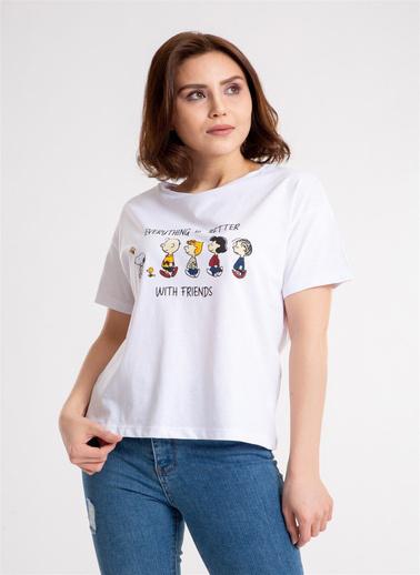 Madame Sare  Kadın Karikatür Baskılı Beyaz Tişört Beyaz
